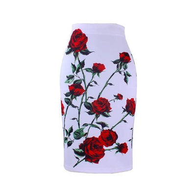 Outlet Appeal WWP0031 / XL New arrival blue Flower print women pencil skirts lady midi saias female black faldas girls slim bottoms M-XXL free shipping