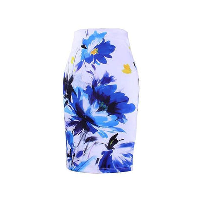 Outlet Appeal WWP0043 / XL New arrival blue Flower print women pencil skirts lady midi saias female black faldas girls slim bottoms M-XXL free shipping