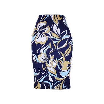 Outlet Appeal WWP0053 / XL New arrival blue Flower print women pencil skirts lady midi saias female black faldas girls slim bottoms M-XXL free shipping