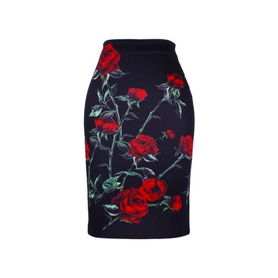 Outlet Appeal WWP0055 / XL New arrival blue Flower print women pencil skirts lady midi saias female black faldas girls slim bottoms M-XXL free shipping