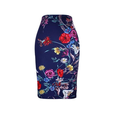 Outlet Appeal WWP0059 / XL New arrival blue Flower print women pencil skirts lady midi saias female black faldas girls slim bottoms M-XXL free shipping