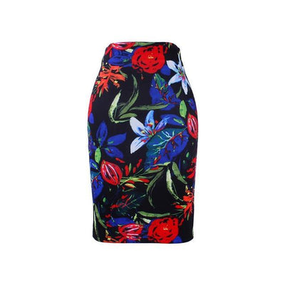 Outlet Appeal WWP008 / XL New arrival blue Flower print women pencil skirts lady midi saias female black faldas girls slim bottoms M-XXL free shipping
