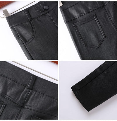 Women's High Waist Skinny Faux Leather Pants