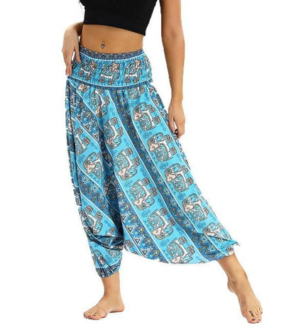 Outlet Appeal YCL032 / One Size Smocked High Waist Loose Fit Baggy Harem Pants - 15 Patterns