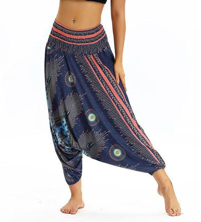 Outlet Appeal YCL035 / One Size Smocked High Waist Loose Fit Baggy Harem Pants - 15 Patterns