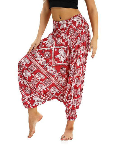 Outlet Appeal YCL040 / One Size Smocked High Waist Loose Fit Baggy Harem Pants - 15 Patterns