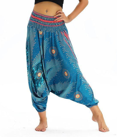 Outlet Appeal YCL045 / One Size Smocked High Waist Loose Fit Baggy Harem Pants - 15 Patterns