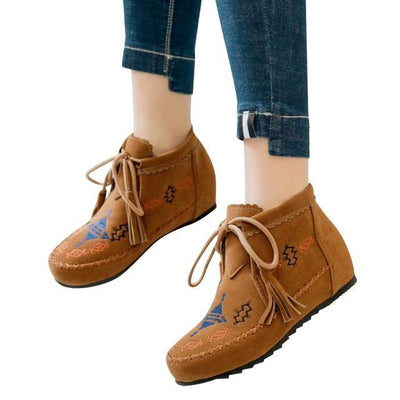 Outlet Appeal yellow / 6 HEE GRAND Boots Lace Up Shoes Woman Creepers Snow Boots 3 Colors Size 35-43 XWX6406