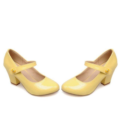 Outlet Appeal Yellow / 6 Mary Janes Thick High Heel Round Toe Pumps