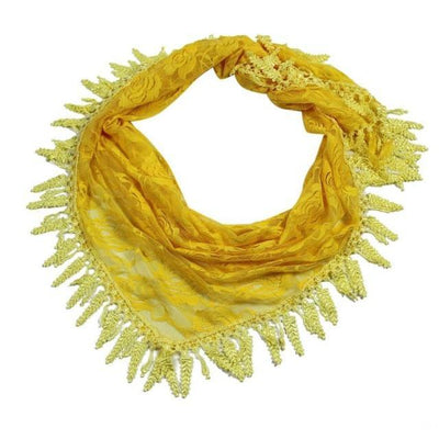 Outlet Appeal Yellow / China 135cm-175cm Women Lady Long Lace Rose Flower Triangular Mantilla Scarf Wrap Shawl bandana