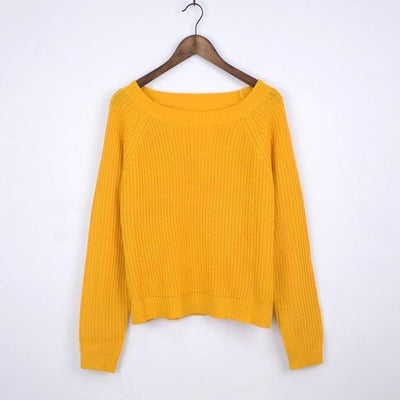 Outlet Appeal yellow / L Autumn winter women sweaters and pullovers korean style long sleeve casual crop sweater slim solid knitted jumpers sweter mujer