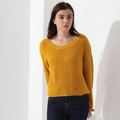 Outlet Appeal Yellow / L Sweater Women Loose Jumper Women Sweaters And Pullover Female Knit Tops GAREMAY