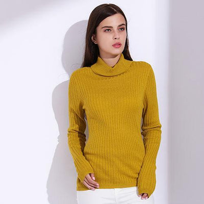 Outlet Appeal Yellow / L Turtleneck Pullover Women Knitted Sweaters Thin Pullover Long Sleeve Knitwear GAREMAY