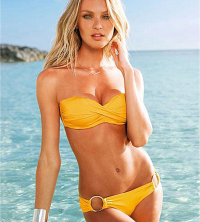 Outlet Appeal Yellow / L Two Piece Elastic Bikini Swimsuit Sexy Padded Swimwear Swim Suit for Women
