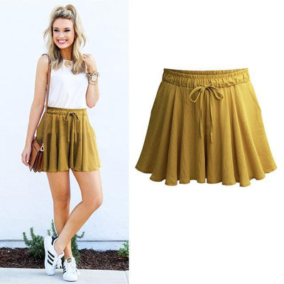 Outlet Appeal Yellow / M High Waist Shorts Under Skort Skirt - 4 Colors - M-6XL