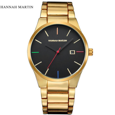 Outlet Appeal Yellow Men Fashion Military Stainless Steel Analog Date Sport Quartz Wrist Watch