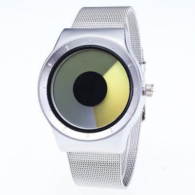Outlet Appeal Yellow Mens Womens Unisex Metal Mesh Band Fashion Quartz Wrist Watch