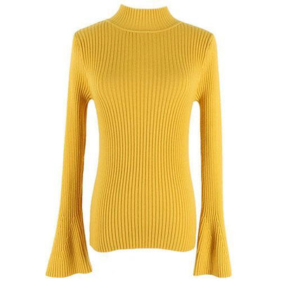 Outlet Appeal Yellow Pullover Sweater Women Turtleneck Knitted Tops Female Knitwear Flare Sleeve Pull Jersey