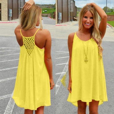 Outlet Appeal Yellow / S Fluorescent and Matte Color Chiffon Beach Dress - 8 Colors - Small-XXL