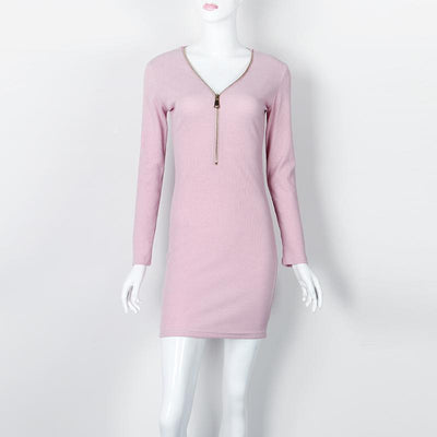 Outlet Appeal Zipper V-neck Knitted Dress Long Sleeve Slim Sheath Dress - 4 Colors
