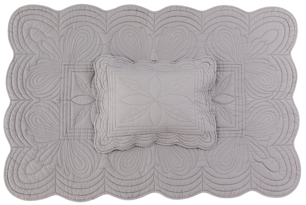 Bonne Mere Cot Quilt and Pillow Set - Dove Grey