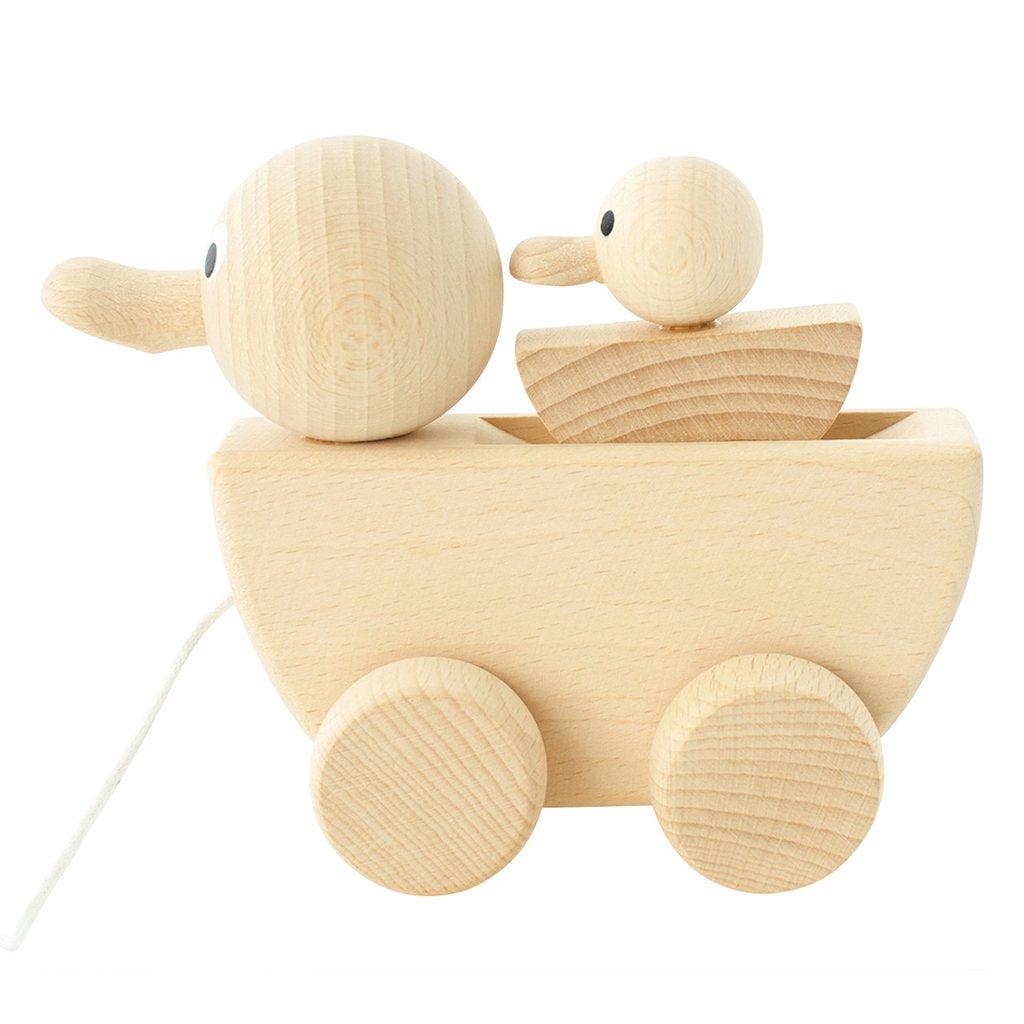 Wooden Pull Along Duck With Duckling - Gracie
