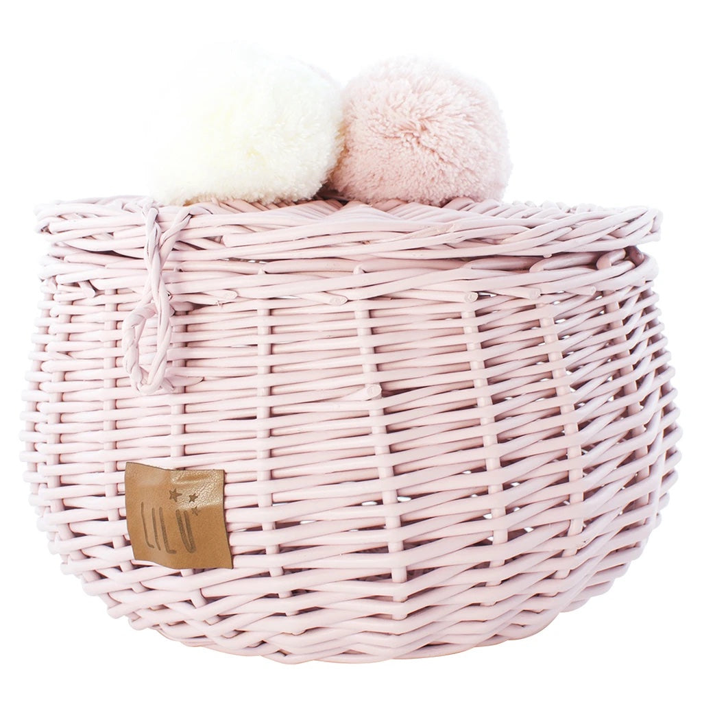 Wicker Basket Large - Dusty Pink
