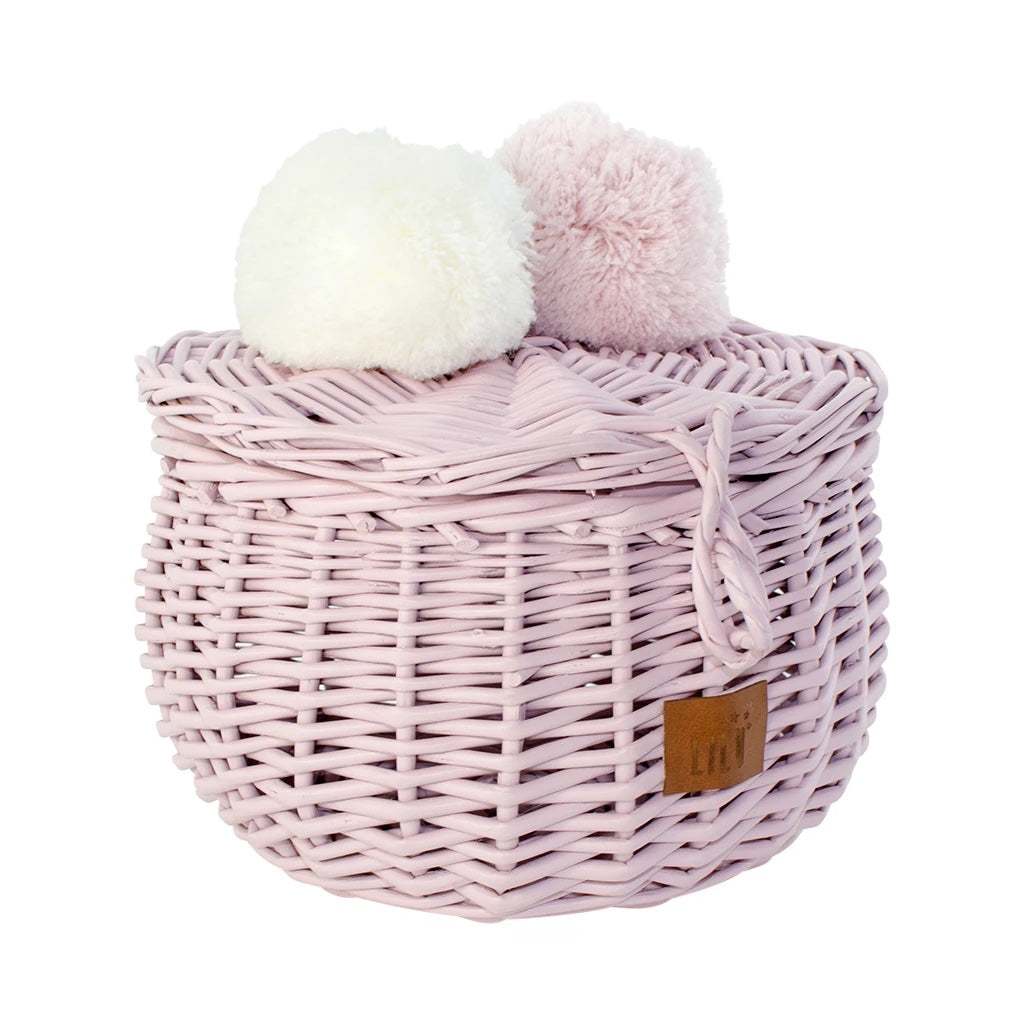 Wicker Basket Small - Dusty Pink