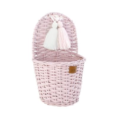 Lilu Wicker Wall Basket - Dusty Pink