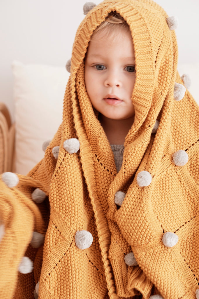 Alimrose Pom Pom Blanket - Butterscotch Mustard & Grey