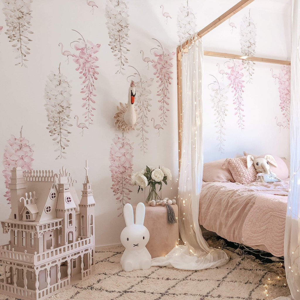 Wisteria & Flamingo Wall Decal Set