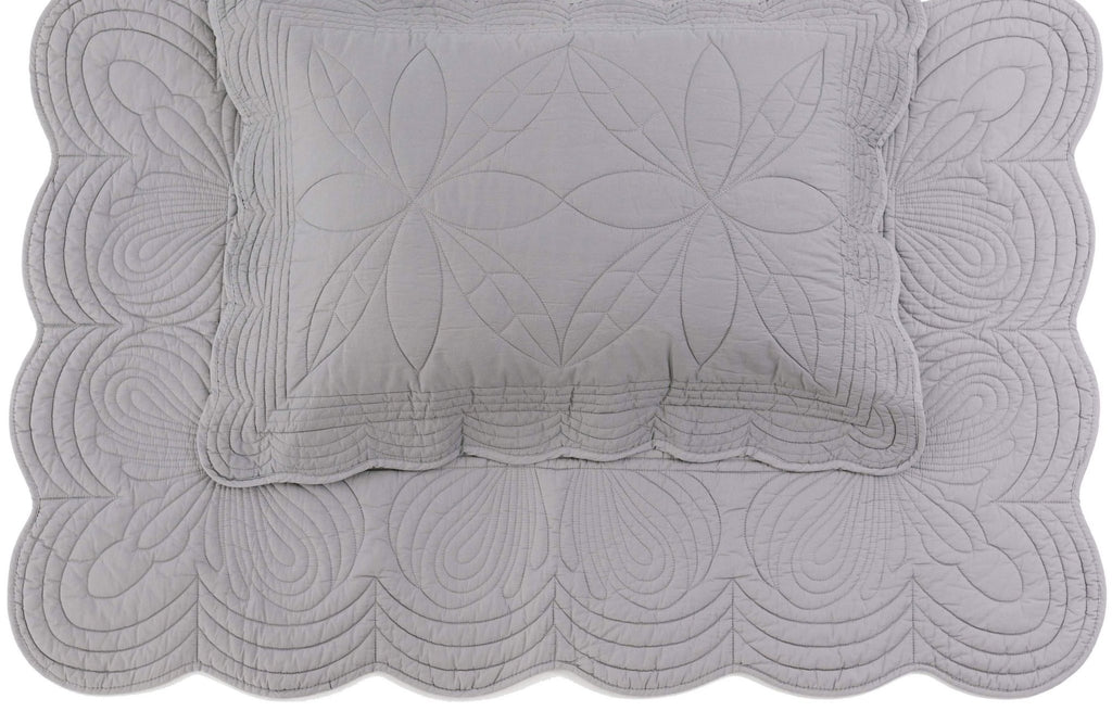 (*Special-Order*) Bonne Mere King Single Bedspread and Pillow Set - Elephant Grey