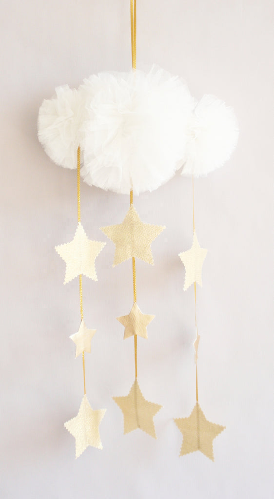 Alimrose Tulle Cloud Mobile - Ivory & Gold Stars