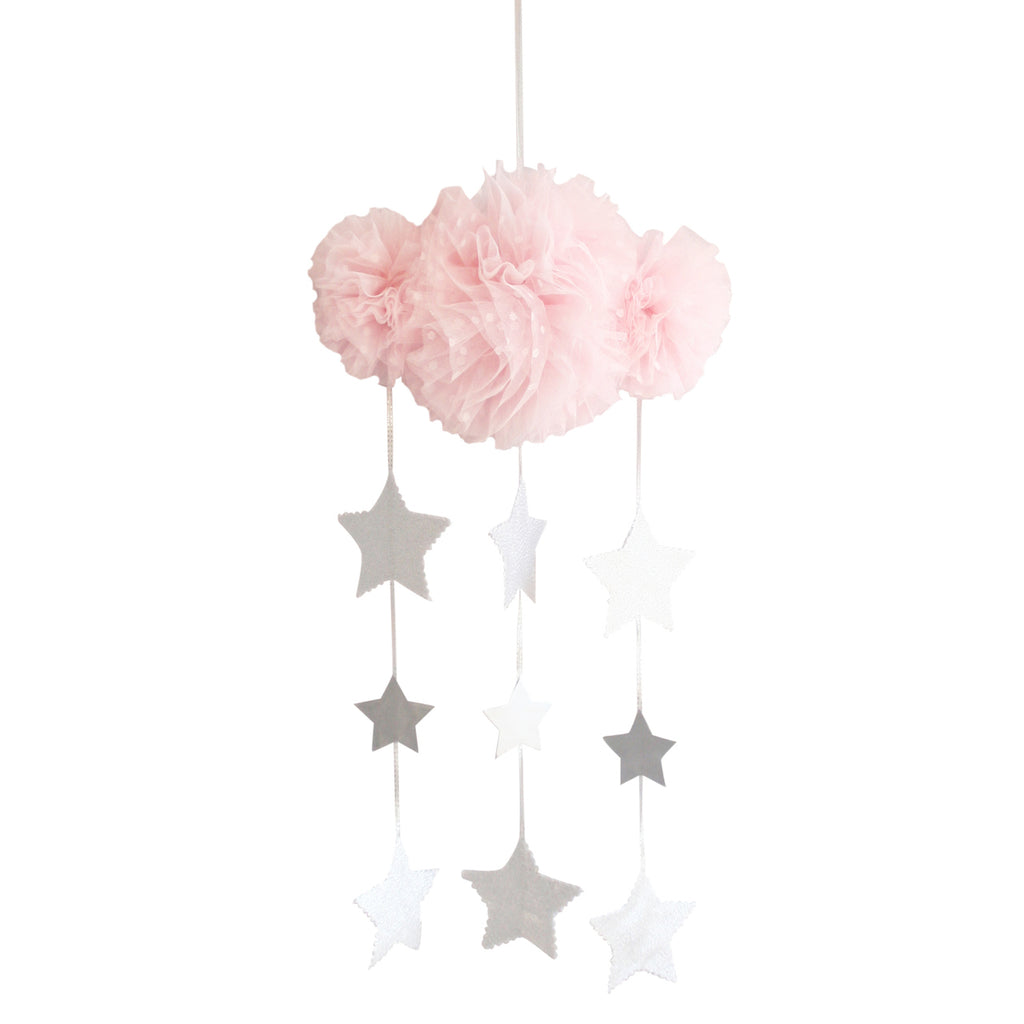 Alimrose Tulle Cloud Mobile - Pale Pink & SIlver Stars