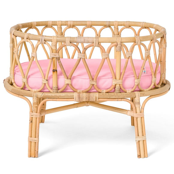 Special-ORDER Rattan Dolls Cot - Pink