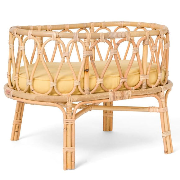 SPECIAL-ORDER - Rattan Dolls Cot - Yellow/Mustard