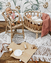 Load image into Gallery viewer, Rattan Dolls Cot - Floral
