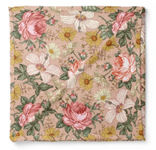 Load image into Gallery viewer, MUSLIN SWADDLE - GARDEN FLORAL - ROSE PINK