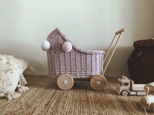 Load image into Gallery viewer, Wicker Dolls Low Pram - Dusty  Pink