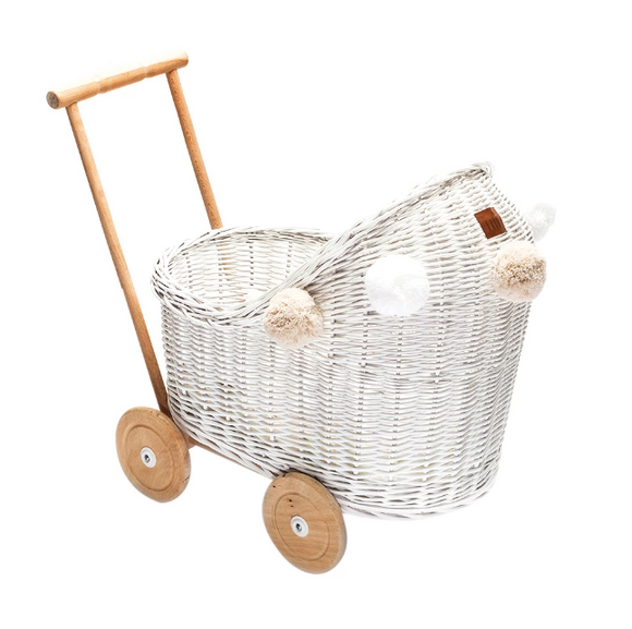 Wicker Dolls Low Pram - White