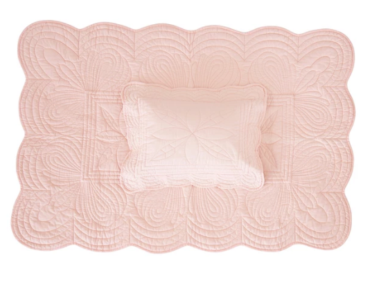 Bonne Mere Cot Quilted Bedspread and Pillow Set - Shell Pink