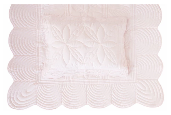 Bonne Mere Single Quilt and Pillow Set - Powder