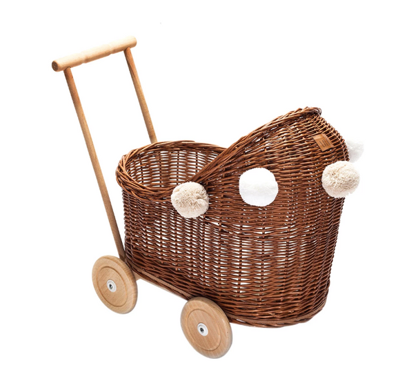 Wicker Dolls Low Pram - Natural