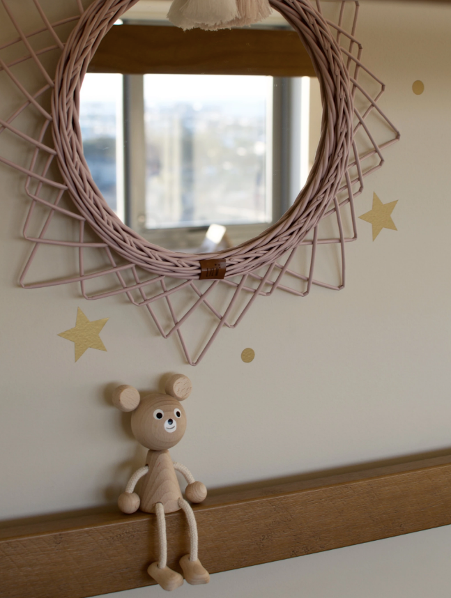 Lilu Wicker Mirror - Dusty Pink