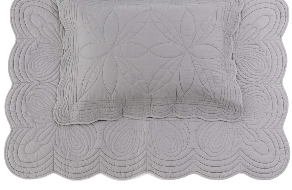 Bonne Mere Single Quilted Bedspread and Pillow Set - Elephant grey
