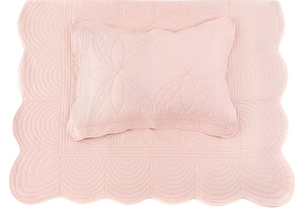 Bonne Mere Single Quilted Bedspread and Pillow Set - Shell Pink