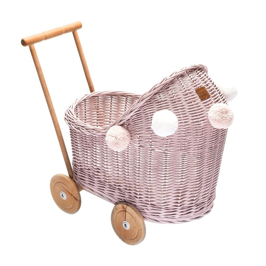 Wicker Dolls Low Pram - Dusty  Pink