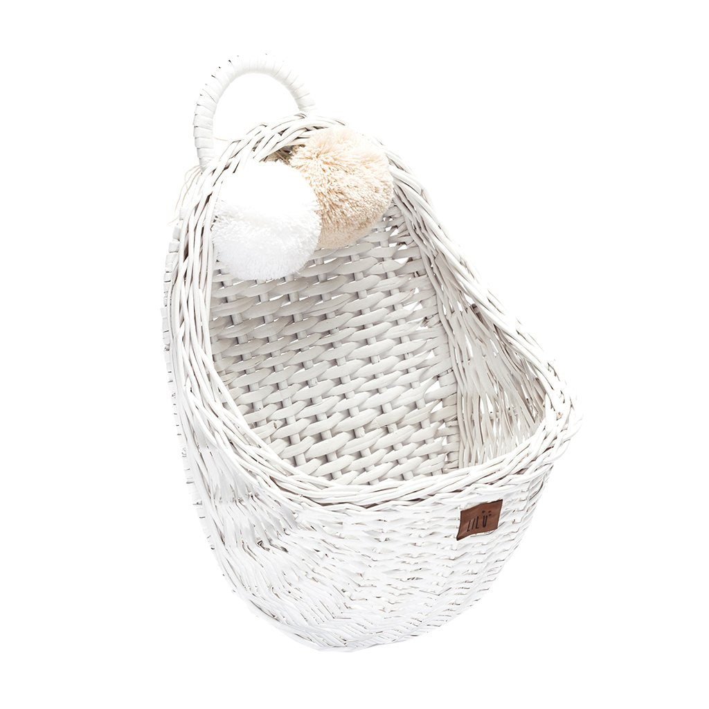 Wicker Wall Basket - White
