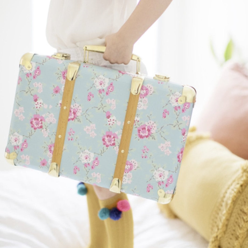 Vintage Style Carry Case  - Aqua Cottage Rose