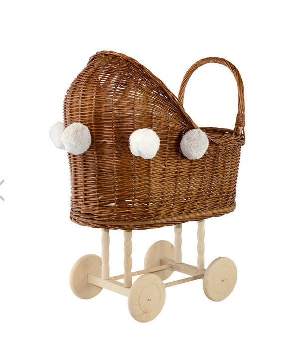 Wicker Dolls Pram High - Natural